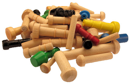 Assorted_Wood_Toy_Axle_Pegs.jpg, Toy wheel wood axles, painted wood axle pins, custom wooden axles