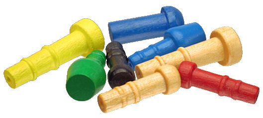 Assorted_Wooden_Axle_pegs___painted.jpg, yellow painted wood toy axle, wood toy axle painted red, custom painted wood axles