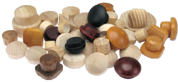 Assorted_Wood_Buttons_and_Plugs.jpg, custom wood buttons, custom wood screw hole plugs, wood plugs made in USA, wood plugs and buttons with stain and finish