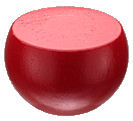 Custom_Round_Ball_with_Flat.jpg, custom wood ball painted red, high gloss red paint on wood part, shiny red paint on wooden knob