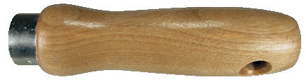 Wood_Handle_with_Ferrule_and_Cross_Bored_Hole.jpg, form fitted wooden handle with ferrule, wood handle with natural finish and cross bored hole