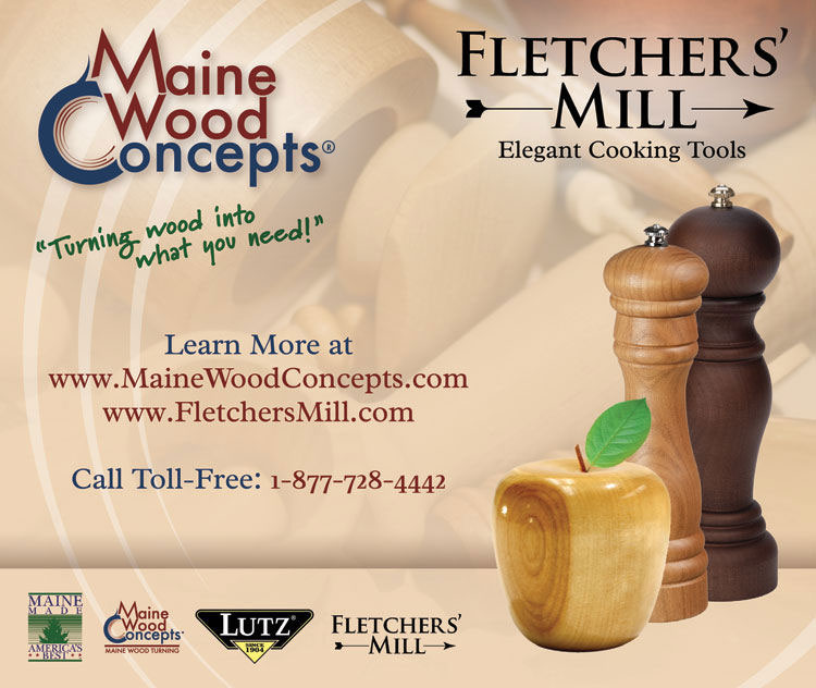 Maine_Wood_Concepts___Fletchers_Mill_750_X_635.jpg, Maine Wood Turnings, Maine Wood Concepts, Fletchers Mill, Wood Apple, Gourmet Wood Pepper Mill, Made in USA